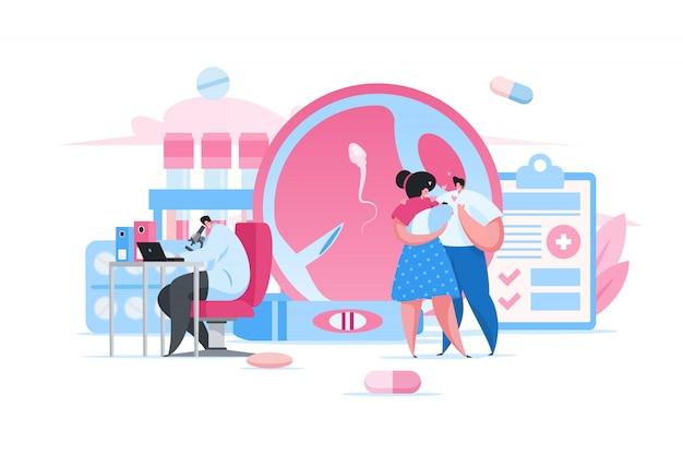Pais felizes e bebê na clínica de fertilidade. ilustração de pessoas plana dos desenhos animados Vetor Premium