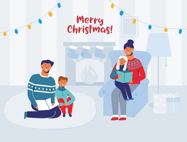 Pais lendo livros com crianças na véspera de natal em casa. personagens felizes das férias de inverno perto da lareira. pai leu o livro para o filho. Vetor Premium