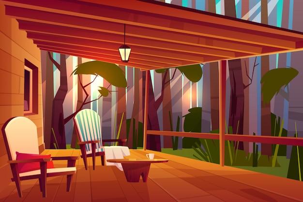 País ou casa de aldeia na floresta com mesa de café de madeira e confortável Vetor grátis
