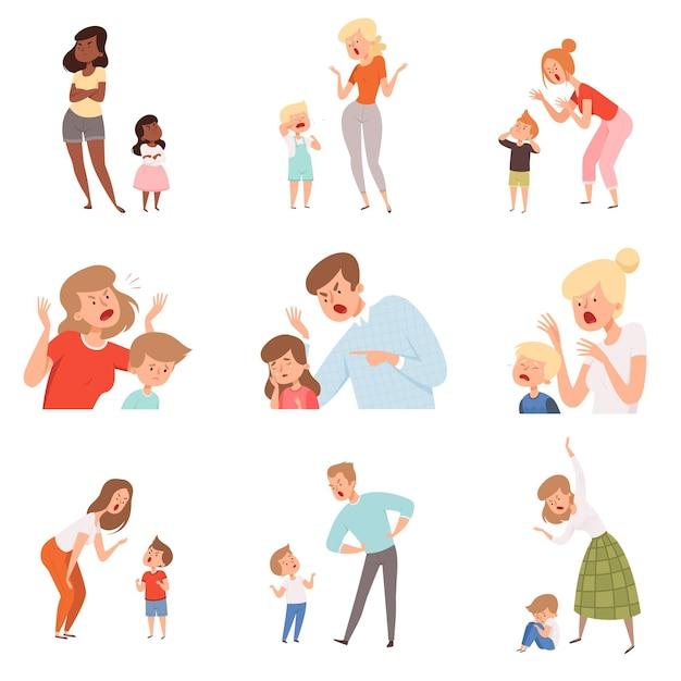 Pais tristes. pai zangado punir filho com medo crianças expressão reação chorando fotos de crianças. Vetor Premium