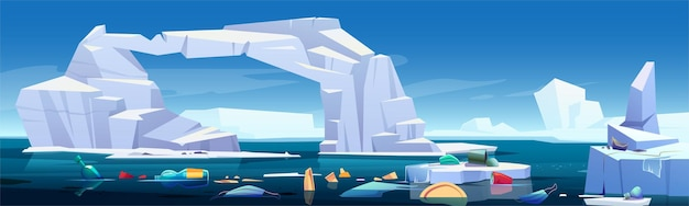 Paisagem ártica com iceberg derretendo e lixo de plástico flutuando no mar Vetor grátis