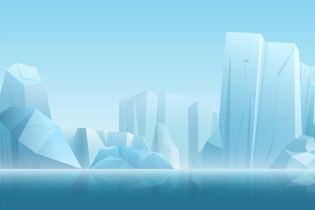Paisagem ártica de inverno com iceberg em água pura azul escura e montanhas de neve em uma ilustração de névoa branca suave Vetor Premium