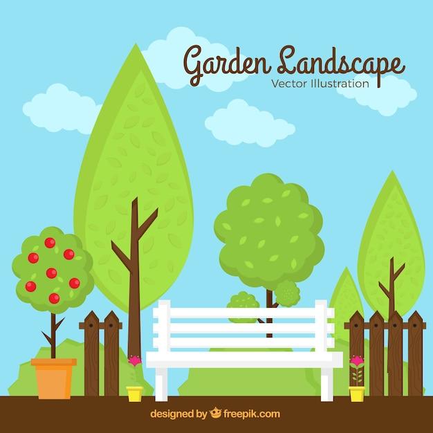 Paisagem belo jardim com árvores Vetor grátis