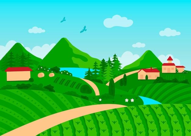 Paisagem campestre com árvores e casas Vetor Premium