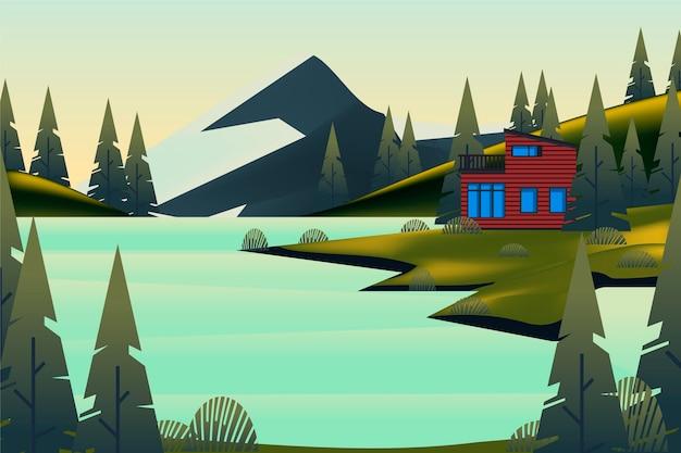 Paisagem campestre com montanha e casa Vetor grátis