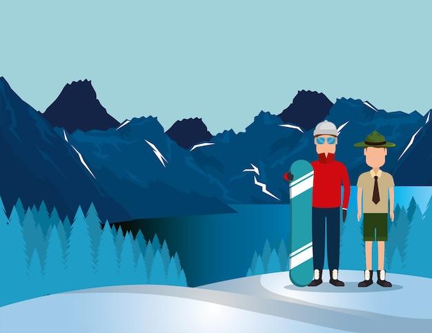 Paisagem canadense com snowboard atleta e guarda florestal Vetor Premium