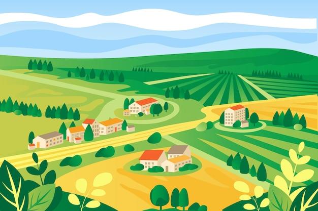 Paisagem colorida do campo ilustrada Vetor grátis