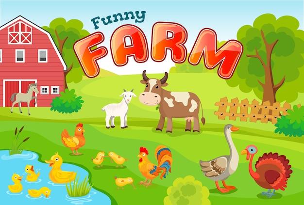 Paisagem com animais de fazenda. Vetor grátis