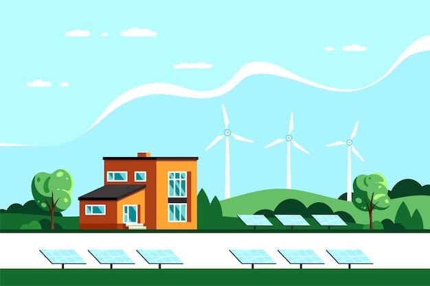 Paisagem com casa moderna, painéis solares e turbinas eólicas. eco house, energy effective house, green energy. Vetor Premium