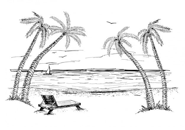 Paisagem com esboço de mar e palmeiras. esboço desenhado da mão da praia do verão. Vetor Premium