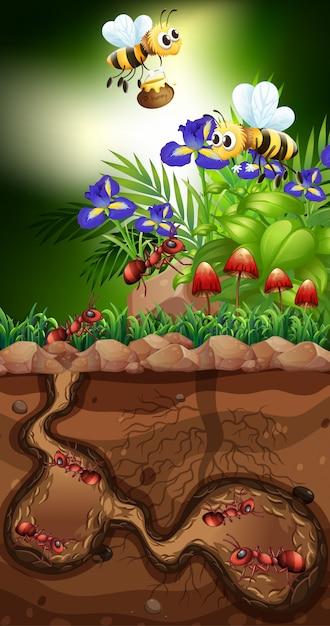 Paisagem com formigas e abelhas Vetor Premium