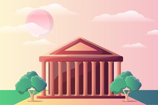 Paisagem com ilustração do templo do panteão para atração turística Vetor Premium