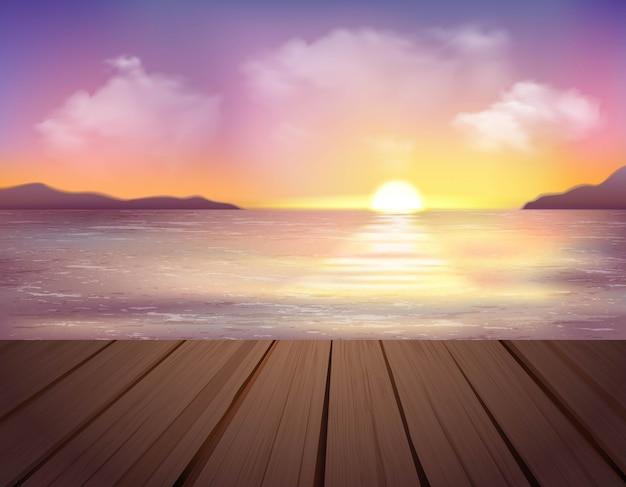 Paisagem com mar, montanhas e cais ilustração Vetor grátis