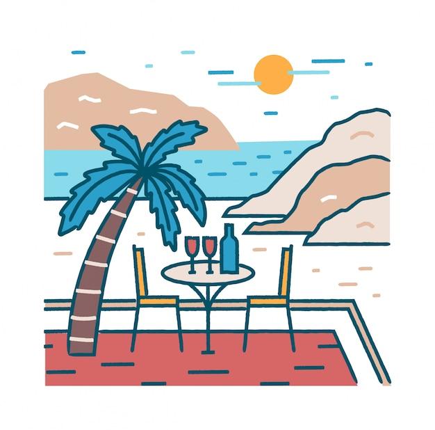 Paisagem com mesa de restaurante romântico e taças de vinho na praia exótica contra o oceano, falésias e sol Vetor Premium
