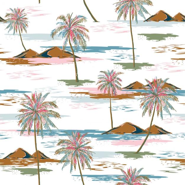 Paisagem com palmeiras Vetor Premium