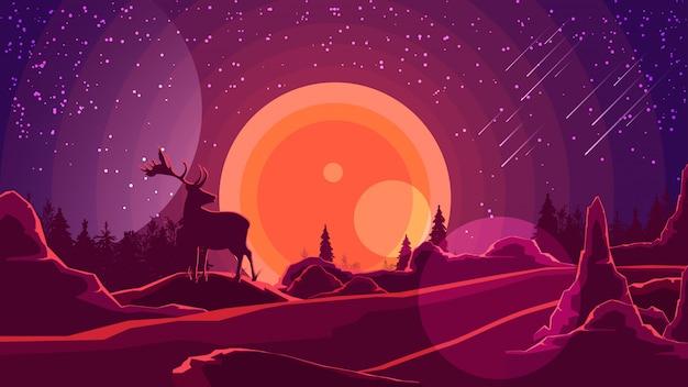 Paisagem com pôr do sol atrás das montanhas Vetor Premium