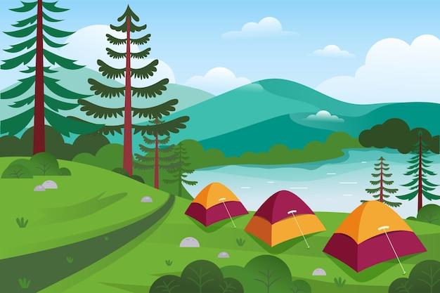 Paisagem da área de acampamento com barracas e floresta Vetor Premium