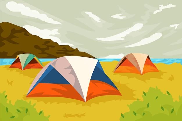 Paisagem da área de acampamento com barracas Vetor grátis