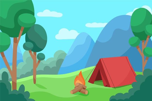 Paisagem da área de acampamento Vetor grátis