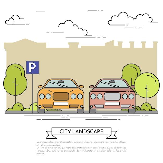 Paisagem da cidade com os carros modernos que estacionam perto da rua da cidade com árvores verdes. Vetor Premium