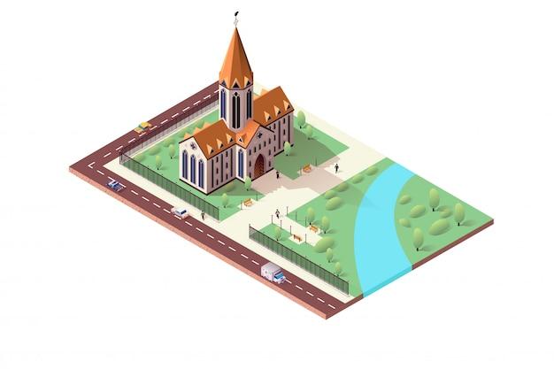 Paisagem da cidade isométrica com catedral católica Vetor Premium