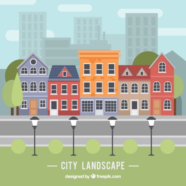 Paisagem da cidade no design plano Vetor grátis