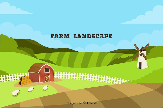 Paisagem da fazenda Vetor grátis