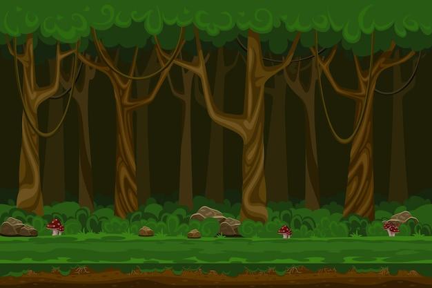 Paisagem da floresta à noite dos jogos de computador dos desenhos animados. planta verde, ambiente natural, madeira e grama, Vetor grátis