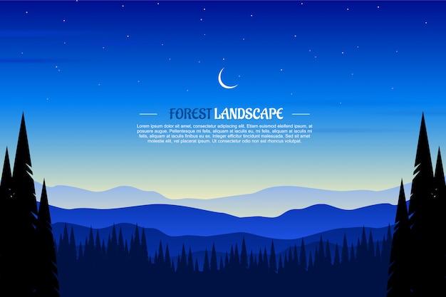 Paisagem da floresta de madeira de pinho com céu azul e ilustração de noite estrelada Vetor Premium
