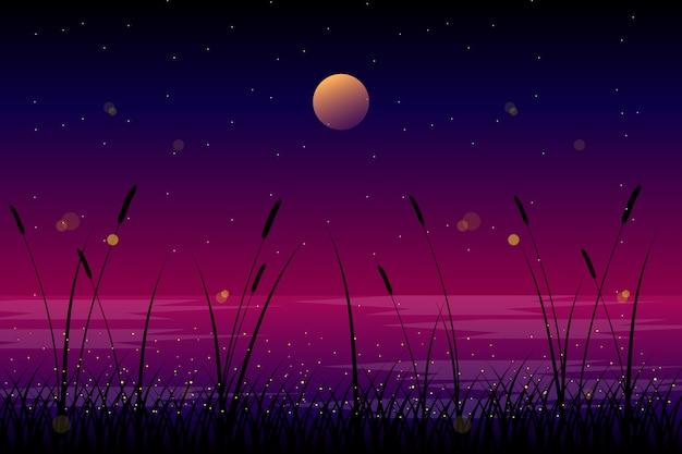 Paisagem da noite com ilustração da lua e do céu Vetor Premium