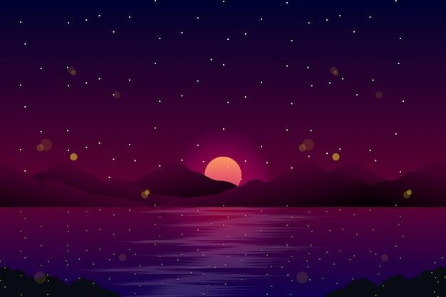 Paisagem da noite com o mar e o céu com ilustração de estrelas Vetor Premium