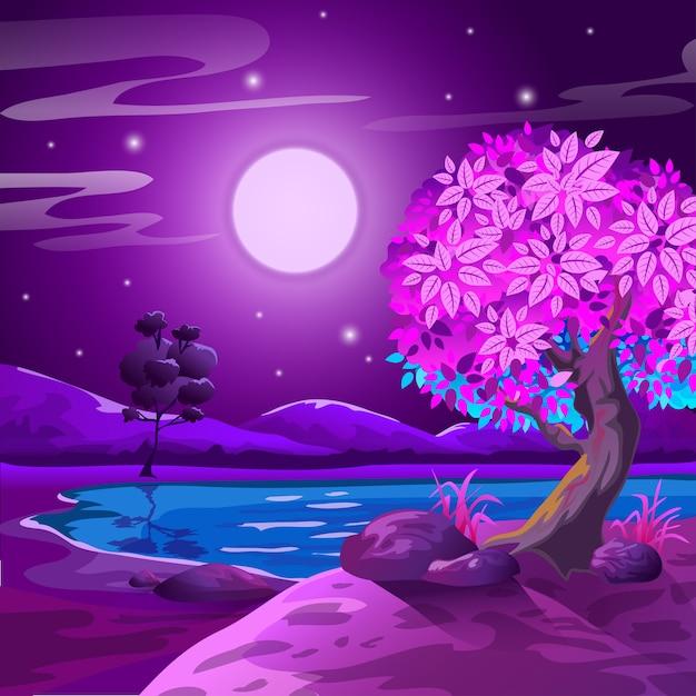 Paisagem Da Noite Dos Desenhos Animados Na Luz Da Lua Vetor Premium