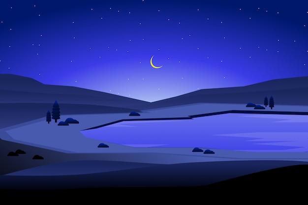 Paisagem da noite e céu azul com ilustração de fundo de montanha Vetor Premium