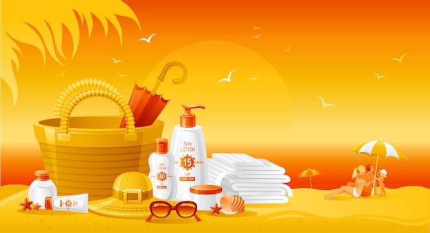 Paisagem da praia do sol com garrafas de creme de protetor solar. anúncio de verão do produto uv protetor solar. loção cosmética para cuidados com a pele. plano de fundo estilo de vida saudável. Vetor Premium