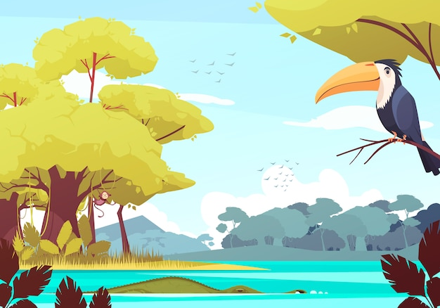 Paisagem da selva com macaco na árvore, crocodilo no rio, bando de pássaros na ilustração dos desenhos animados do céu Vetor grátis