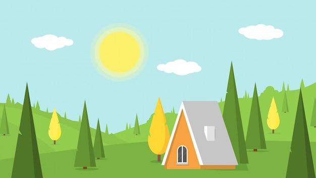Paisagem da vila com gramados verdes, colinas e casa de campo. Vetor Premium