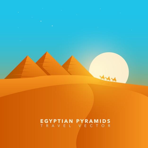 Paisagem das pirâmides egípcias Vetor Premium