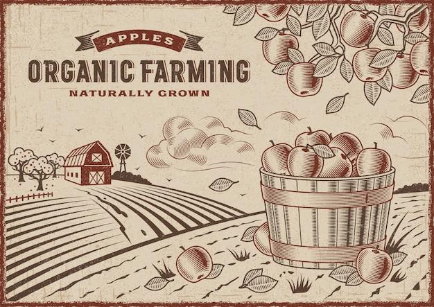 Paisagem de agricultura orgânica da apple Vetor Premium