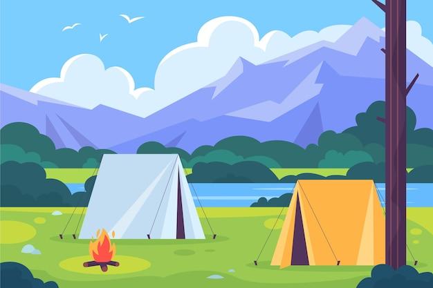 Paisagem de área de acampamento de design plano Vetor grátis