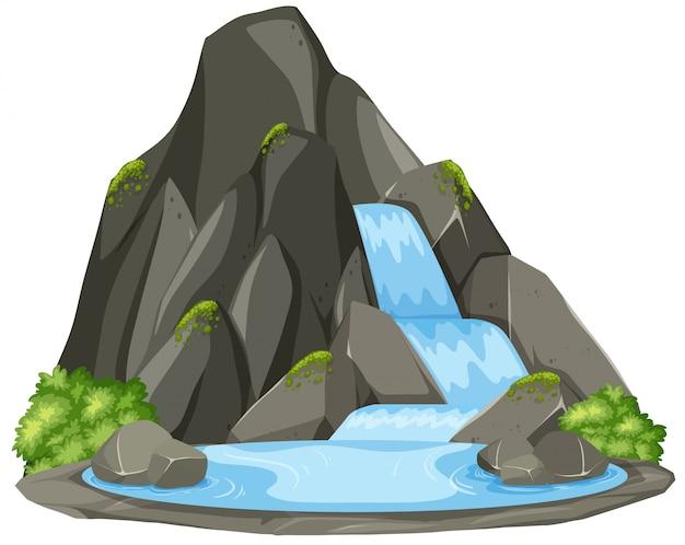 Paisagem de cachoeira natureza isolada Vetor Premium