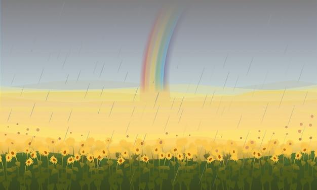 Paisagem de campo bonita colorida Vetor grátis