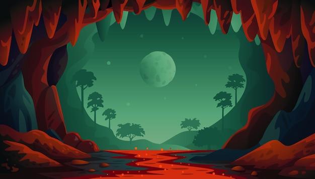 Paisagem de caverna na selva Vetor Premium