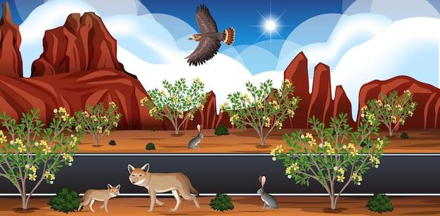 Paisagem de deserto selvagem em cena diurna Vetor Premium