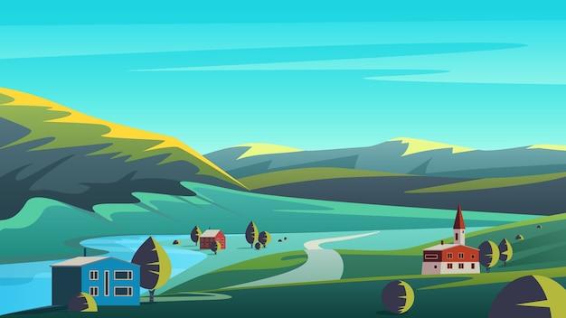 Paisagem de eco panorama colorido com pequena cidade localizada em terras de vale remoto, com montanhas e céu azul. Vetor Premium