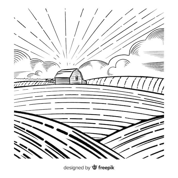 Paisagem de fazenda desenhada de mão Vetor grátis