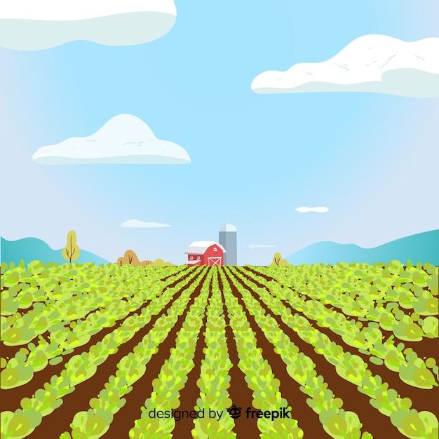 Paisagem de fazenda dos desenhos animados Vetor grátis