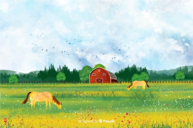 Paisagem de fazenda em aquarela Vetor grátis