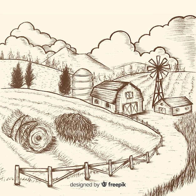 Paisagem de fazenda incolor de mão desenhada Vetor grátis