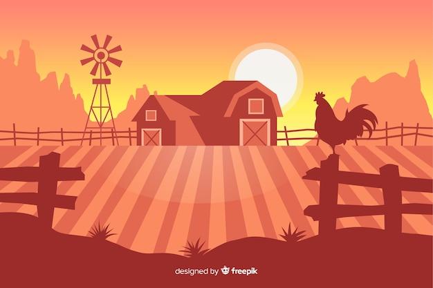 Paisagem de fazenda plana Vetor grátis