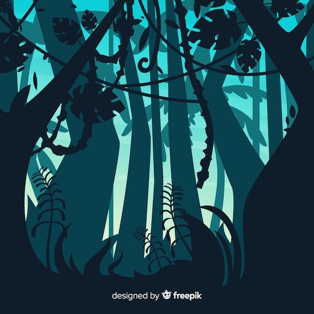 Paisagem de floresta tropical ilustrada Vetor grátis